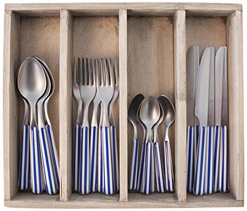 Provence Rayures dîner Ensemble de Couverts en Acier Inoxydable, bac, Bleu, 33.5 x 29.5 x 6.5 cm