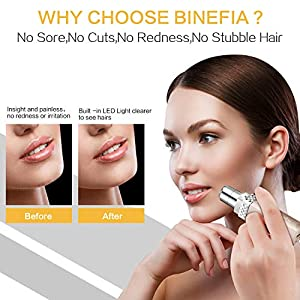Facial Hair Remover Women,Binefia USB Rechargeable Facial Hair Removal,Painless Face Hair Trimmer,Portable Electric Razor,Waterproof Ladies Electric Shaver for Peach Fuzz/Facial Hair/Lip/Chin