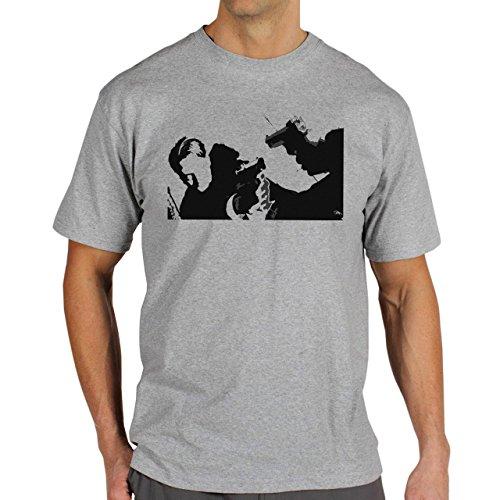 Reservoir Dogs Movie Quentin Tarantino Black White Edition Art Guns Shooting Background Herren T-Shirt Grau