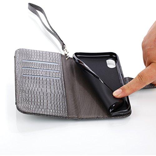 iPhone X Hülle, [Crocodile Pattern] PU Handschlaufe Flip Wallet Cover Etui in Book Style Stand Case Card Slot Leder Tasche Case Karteneinschub Magnetverschluß Kratzfestes und Schmutzunempfindliches in schwarzgrau