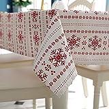 Weihnachten Tischdecke Schneeflocke Gedruckt Baumwoll PolyesterTischdecke Staubschutz Hause Hotel Party Dekoration Lieferungen Abwaschbare Tischdekoration (Große Schneeflocke, 140x180 cm (55x71 inch))