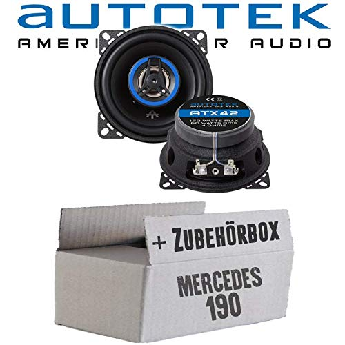 Lautsprecher Boxen Autotek ATX-42   2-Wege 10cm Koax Lautsprecher 100mm Auto Einbauzubehör - Einbauset für Mercedes 190   W201 Front - JUST SOUND best choice for caraudio