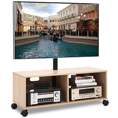 RFIVER Universal Mobil TV Ständer mit Rollen Fernsehschrank Fernsehtisch höhenverstellbar schwenkbar in Eiche für 32 bis 65 Zoll TV TW5001 -