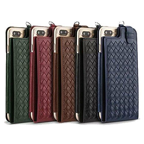 Wkae Multifunktions-handgefertigte Strick-Textur Flip Leder Brieftasche mit Card Slots & Lanyard für 5,5 Zoll iPhone 6s Plus iPhone 7 Plus & iPhone 8 Plus ( Color : Red ) Red