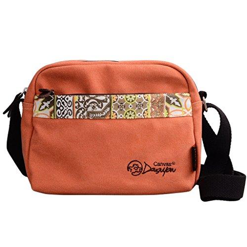 Douguyan Donna Borse a tracolla per picnic Scuola Viaggio Vacanze Tela E00155 Beige Arancione