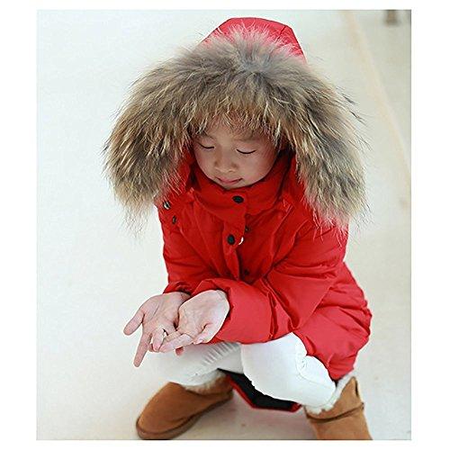 Minetom Mädchen Winter Lang Wintermantel Mantel Jacket Trenchcoat Parka Oberbekleidung Kleidung Rot 146/152 - 3