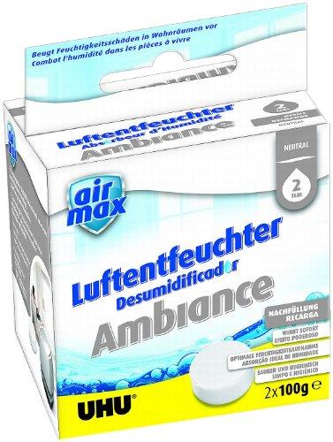 Boîte de 2 Recharges de 100g pour absorbeur d'humidité 37355 - L7,6 x H7,6 x P6,2 cm gris blanc