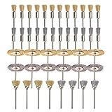"""Gunpla - Set di mini spazzole in acciaio e ottone, per tazza smerigliatrice, 3 mm (0,125""""), per strumenti rotanti Dremel, per lucidatura/raspatura, 44 pezzi"""