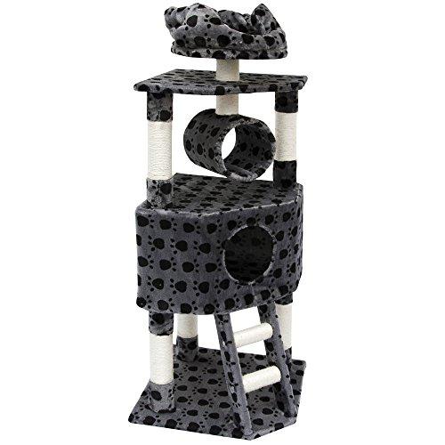 Eyepower Kratzbaum Amelie für Katzen in Grau mit Tatzenmotiv Katzenkratzbaum 52x52x145cm mit...