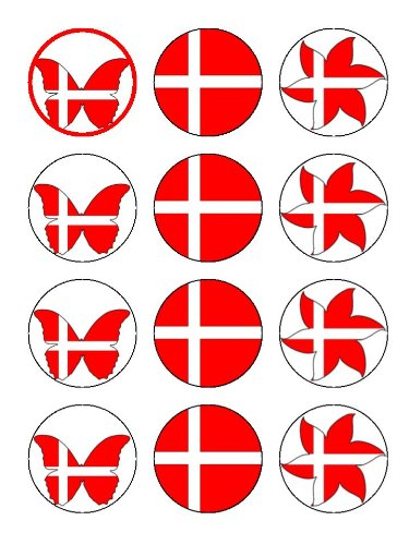 "x12 2"" Denmark / Danish National Flag Cup Cake Toppers With Mixed Flowers and Butterflies Decorations on Rice paper"