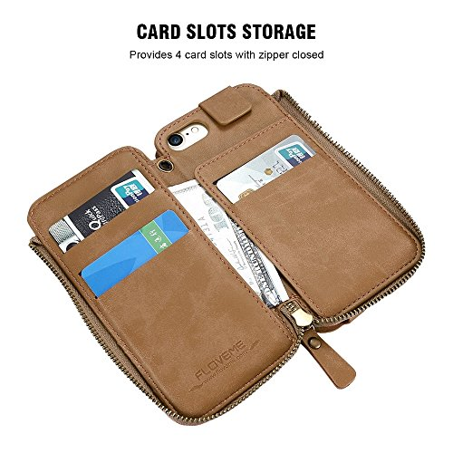 Phone Case & Hülle für iPhone 6 Plus & 6 s Plus Crazy Horse Textur Reißverschluss horizontale Flip schützende Ledertasche mit Kartensteckplätze & Wallet & Lanyard ( Color : Black ) Black