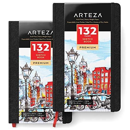 ARTEZA Hardcover-Skizzenbuch 13cm x 21cm | 2er-Pack mit Jeweils 132 Seiten | Schweres Zeichenpapier 175g/m² | Ideal zum Zeichnen, Skizzieren und Malen mit Verschiedenen Trockenen Medien
