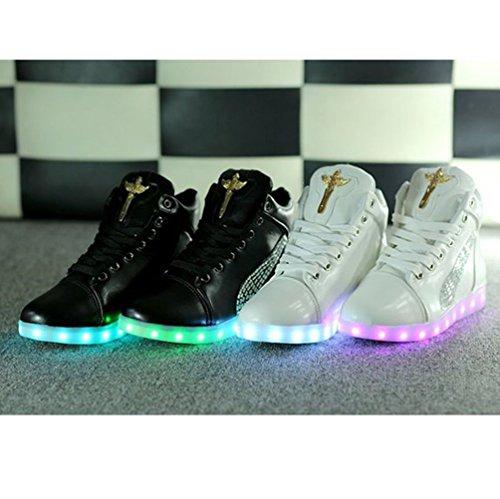 (Présents:petite serviette)JUNGLEST® Croix dange Chaussures LED Baskets Unisexe Femme Homme Argent USB Ch Blanc