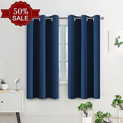 H.versailtex tende oscuranti con occhielli per la camera da letto, confezione da 2, tinta unita, blu scuro, 2 x 116 x 137 cm