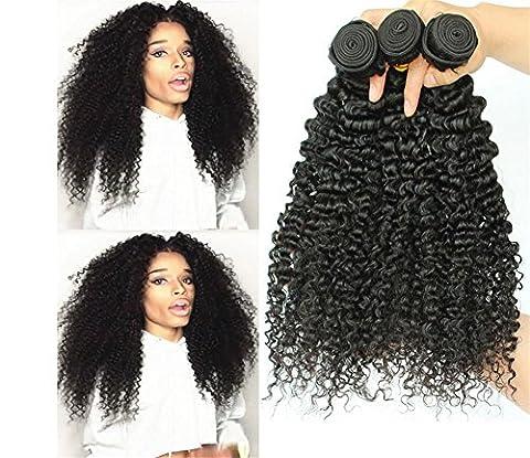 Meylee 100% Brazilian Hair Mixed Longueur 3 paquets Kinky Curly Wave Choix multiples 8-30 pouces Extension de cheveux humain brésilien vierge Non naturellement naturel Couleur noire pour les femmes , 8 10 12