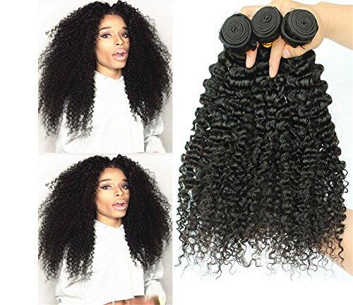 XYLUCKY 100% brasilianisches Haar gemischte Länge 3 Bündel Kinky lockige Welle mehrfache Wahl 8-30inch Jungfrau brasilianische Menschenhaar-Verlängerung unverarbeitete natürliche schwarze Farbe für Frauen , 8 10 12