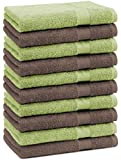 10er Pack Gästehandtücher Gästetuch Premium Farbe Apfel Grün & Nuss Braun Größe: 30x50 cm 100% Baumwolle