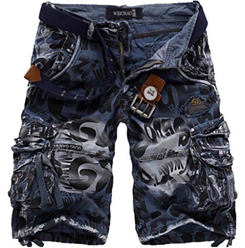 Elonglin Hommes Shorts Bermudas Cargo Outdoor Coton Casual Eté Outdoor Cargo Shorts Bermuda Pantacourt Camouflage sans Ceinture Bleu FR 50 (Asie 40)