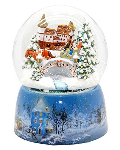 20066 Mega-Schneekugel Nostalgische Schlittenfahrt Porzellansockel Schneelandschaft 150mm Durchmesser Snowmotion und Musik-Spieluhr