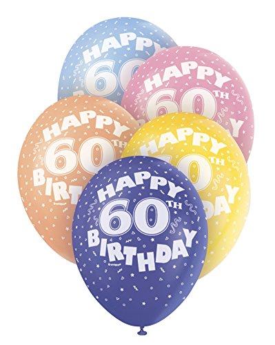Unique Party Globos Perlados de Látex para Cumpleaños Happy 60th Birthday, 5 Unidades, 30 cm (80216)