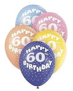 """Unique Party- Globos Perlados de Látex para Cumpleaños""""Happy 60th Birthday"""", 5 Unidades, 30 cm (80216)"""