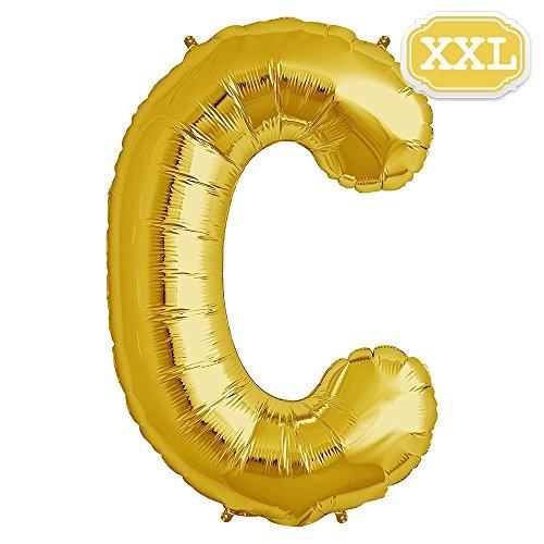 XXL Folienballon Buchstaben Gold [ ca.100cm ] , Buchstaben ballon für Geburtstag Jubiläum & Party Geschenk Dekoration Folienballons Luftballons Zahl ballon Happy Hochzeit Birthday [ A ~ Z ] (GOLD[C])