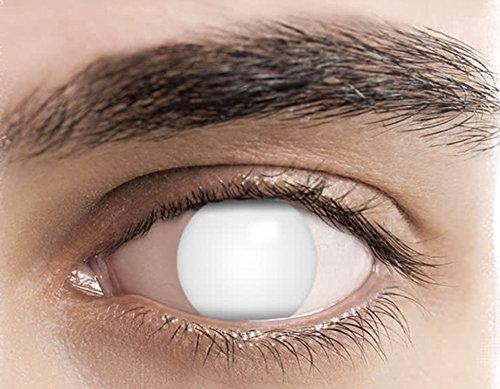 PHANTASY Eyes® Farbige Kontaktlinsen, Ohne Stärke (BLIND WHITE) Weisse Devil/Zombie perfekt zum Halloween und Karneval, Jahres Linsen, 1 Paar Contact linsen + Kontaktlinsenbelälter! (Blind Eye Halloween Kontaktlinsen)