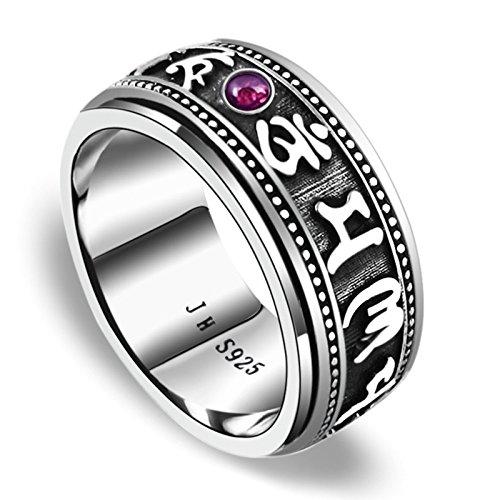 Aooaz anelli da uomo anello argento 925 Retro lettera con anello di pietra anelli vintage Argento