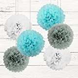 "Hanging Tissue Paper Pom Poms, Set of 6 10"" White Light Blue& Grey Tissue Paper Flowers for Hanging Decoration Birthday Baby Shower Wedding Home Decorations Party Ball Supplies"
