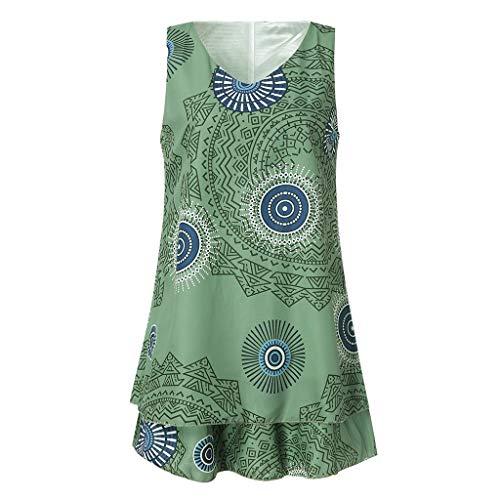 TYTUOO Frauen Midi Kleid Plus Size Print Midi Kleid Loose Shift Sleeveless Tank Vest Sun Dresses - Dark Red Damen Tank Top