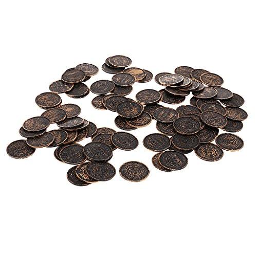 ldmünzen Spielmünzen aus Kunststoff für Piraten Gold Party Mitgebsel Kinder Geburtstag Spielzeug - Bronze, 3,4 cm ()