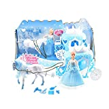 Toi- Toys 12879A Prinzessin mit Pferdekutsche und Zubehör für Kinder Kinderzimmer Freunde Mädchen Kleid Einhorn Glitzer Prinzessin Pferd Geschenk Kinderspielzeug Spielzeug