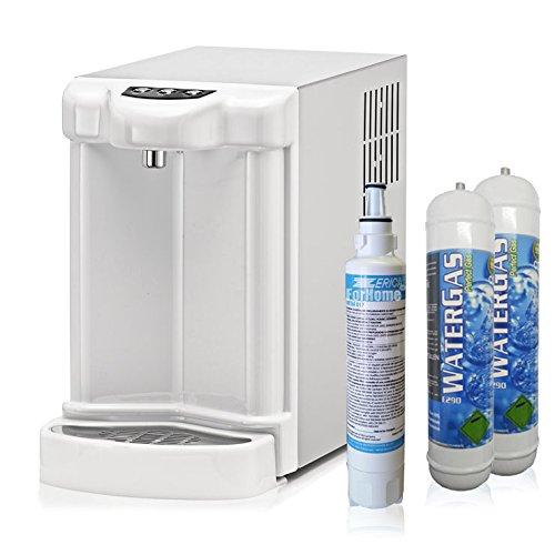 Wasserfilter System ForHome® für die küche Kühler Karbonator Wasseraufbereiter Ultrafilter Anlage Mikrofiltrations Wasser Everpure übertisch , gekühlte Kühlwasser Sprudelwasser +2 CO2-Zylinder