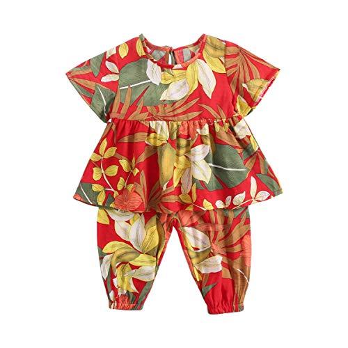 en Bekleidungssets Sommer Blumen Gedruckt Baby Kleider+Hose (6-12 Monate / 66 cm, 9056-9062) ()