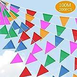 SaponinTree 100M Multicolor Bandera Banderín, 200 Pcs Nylon Tela Decoraciones Banderas de Triángulos para cumpleaños, Boda, Hogar, Fiesta de Bienvenida al bebé Decoración
