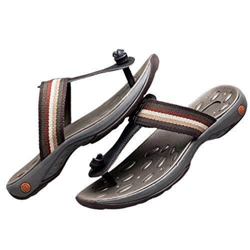 SHANGXIAN L'été en plein air Beach masculine Flip Flops sandales de cuir Casual Black