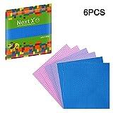 NextX 6 Stück Bauplatte für Classic Bausteine Plastik Grundplatte 25 x 25 cm - Hellblau + Lila + Rosa