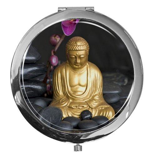 metALUm Premium - Taschen - Spiegel aus verchromten Metall mit bildschönem Buddha Motiv und edler, hochglänzender Kunstharzbeschichtung - ein tolles Accessoire für jede Frau oder als besonderes Geschenk