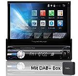 Tristan Auron BT1D7021A Autoradio + DAB+ Box, Android 8.1, 7'' Touchscreen Bildschirm, GPS Navigation, Bluetooth Freisprecheinrichtung, Quad Core Prozessor, Mirrorlink, USB, SD, OBD 2, DAB I 1 DIN