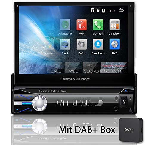 Tristan Auron BT1D7021A Autoradio + DAB+ Box, Android 8.1, 7'' Touchscreen Bildschirm, GPS Navigation, Bluetooth Freisprecheinrichtung, Quad Core Prozessor, Mirrorlink, USB, SD, OBD 2, DAB I 1 DIN