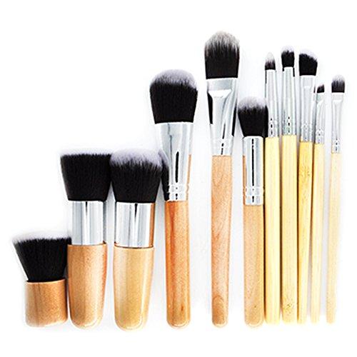 Scrox 1x (11 pcs) Combinaison de pinceaux de Maquillage Professionnel Poignée en Bambou Outils de Maquillage-Kaki