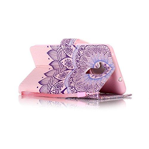Feeltech HUAWEI Honor 5C Hülle,HUAWEI Honor 5C Magnet Leder Wallet Cover,Elegant Soft PU Kartenfach Extra Dünn Tasche Bunte Relife-Muster [Stand Funktion] Karte Halterung Klapp hülle Flip Book Design  Stammes Mandala