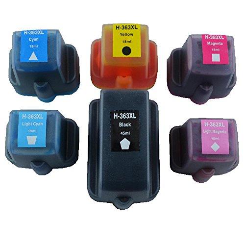 Set mit 6 XXL Patronen für HP 363 Photosmart C5180 C7180 Black je 45ml Color je 18ml mit Chip/und / Füllstandsanzeige