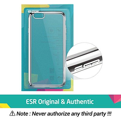 iPhone 6S Plus / 6 Plus Hülle (5,5 Zoll), ESR® Twinkler Series [0.8mm Ultra Dünne] Weiche Silikon Schutzhülle TPU Transparent Zurück mit Überzug Farbig Rahmen Hülle für iPhone 6/6S Plus (Grau) Silber