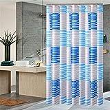 JzdNy Tenda da Bagno in Poliestere Blu con Strisce divisorie AntiGraffio Impermeabile per Bagno con Doccia impermeabile-120cm * 180cm
