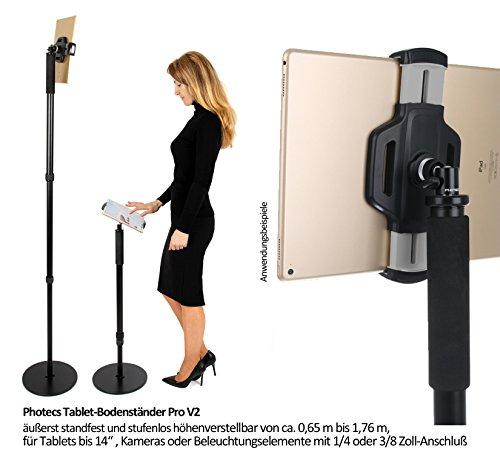 Photecs® Tablet-Bodenständer Pro V2, Boden-Stativ (höhenverstellbar bis ca. 1,76 m), Profi Tablet-Ständer/-Stativ mit hoher Standfestigkeit, für iPad Pro 12.9 oder andere Tablet-PC bis 14 Zoll (Stativ Hohe)