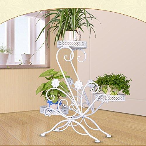 Blumenständer Metall Pflanzenregal Pflanzenständer Pflanzenhocker mit 3 Körbe Blumen Pflanzen Dekoration in Zuhause, Garten, Flur und Büro stufenförmig Blumenregal (Weiß, S-Style) (Weiße Dekorative Etagere)
