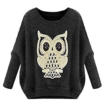 Hee Grand Hibou Image Femme Pull-over Taille Unique Gris