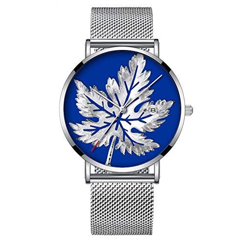 Minimalistische Mode Quarz-Armbanduhr Elite Ultra Thin Wasserdichte Sportuhr mit Datum mit Mesh-Band 189.Silver Leaf Print Bling -