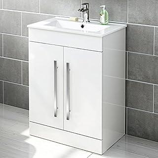 600 mm White Gloss Vanity Sink Unit Ceramic Basin Bathroom Storage Furniture MV800